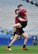 7 April 2018; St Ronan's College captain Jamie Haughey, right, and team-mate Tiernan Kelly celebrate after the Masita GAA All Ireland Post Primary Schools Hogan Cup Final match between Rice College Westport and St Ronan's College Lurgan at Croke Park in Dublin. Photo by Piaras Ó Mídheach/Sportsfile