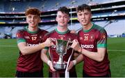 7 April 2018; St Ronan's College players, from left, Rioghan Meehan, Jamie Haughey, and Marc McAfee celebrate with the cup after the Masita GAA All Ireland Post Primary Schools Hogan Cup Final match between Rice College Westport and St Ronan's College Lurgan at Croke Park in Dublin. Photo by Piaras Ó Mídheach/Sportsfile