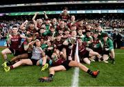 7 April 2018; St Ronan's College players celebrate with the cup after the Masita GAA All Ireland Post Primary Schools Hogan Cup Final match between Rice College Westport and St Ronan's College Lurgan at Croke Park in Dublin. Photo by Piaras Ó Mídheach/Sportsfile