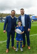 7 April 2018; Matchday mascot 9 year old Jonathan O'Donnell, from Coolmine, Dublin, with Leinster players Isa Nacewa and Sean O'Brien ahead of the Guinness PRO14 Round 19 match bewteen Leinster and Zebre at the RDS Arena in Dublin. Photo by Ramsey Cardy/Sportsfile