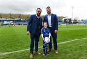 7 April 2018; Matchday mascot 7 year old Eve Kilcline, from Goatstown, Dublin, with Leinster players Isa Nacewa and Sean O'Brien ahead of the Guinness PRO14 Round 19 match bewteen Leinster and Zebre at the RDS Arena in Dublin. Photo by Ramsey Cardy/Sportsfile