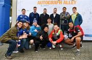 7 April 2018; Leinster players James Ryan, Robbie Henshaw and Jack Conan with supporters in Autograph Alley prior to the Guinness PRO14 Round 19 match between Leinster and Zebre at the RDS Arena in Dublin.  Photo by Sam Barnes/Sportsfile