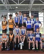 7 April 2018; Under 14 Boys 4x200m relay team medallists, from left, Leevale AC, bronze, South Galway AC, gold, and Finn Valley AC, Co. Donegal, silver, during the Irish Life Health National Juvenile Indoor Championships Day 1 at Athlone IT in Athlone, Westmeath. Photo by Tomás Greally/Sportsfile