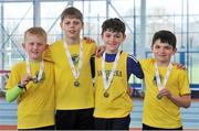 7 April 2018; Silver medallists in the Under 12  Boys 4x100m relay team event, of Loughrea AC, Co. Galway, from left, Zach Lawless, Darragh Fahy, Keegan Connaire and Eanna Cooney, during the Irish Life Health National Juvenile Indoor Championships Day 1 at Athlone IT in Athlone, Westmeath. Photo by Tomás Greally/Sportsfile