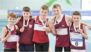 7 April 2018; Gold medallists in the Under 12 Boys 4x100m relay team event, of Mullingar Harriers AC, Co. Westmeath, from left, Jamie Wallace, Kyle Faherty, Conor Liston, Criostoir Ormsby and James Flynn, during the Irish Life Health National Juvenile Indoor Championships Day 1 at Athlone IT in Athlone, Westmeath. Photo by Tomás Greally/Sportsfile