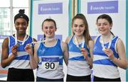 7 April 2018; Silver medal finishers in the Under 16 Girls 4x200m relay team event, from St Laurence O'Toole AC, Co Carlow, from left, Damilola Adesina, Zoe Garrigan, Lynsey Ward and Aoife Ryan, during the Irish Life Health National Juvenile Indoor Championships Day 1 at Athlone IT in Athlone, Westmeath. Photo by Tomás Greally/Sportsfile