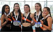 7 April 2018; Bronze medal finishers in the Under 16 Girls 4x200m relay team event, from Clonliffe Harriers AC, Co. Dublin, from left, Alex Toomey, Blaise Hogan Kristin Hogan, Emma McDonnell and Holly Roche, during the Irish Life Health National Juvenile Indoor Championships Day 1 at Athlone IT in Athlone, Westmeath. Photo by Tomás Greally/Sportsfile