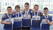 7 April 2018; Silver medal finishers in the Under 14 Boys 4x200m relay team event, from Finn Valley AC, Co. Donegal, from left,  Patrick Murphy, Blaine Lynch, Daniel McCabe, Bobby Hennigan and Conor Murphy, during the Irish Life Health National Juvenile Indoor Championships Day 1 at Athlone IT in Athlone, Westmeath. Photo by Tomás Greally/Sportsfile