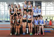 7 April 2018; Under 16 Girls 4x200m relay team medallists, from left, Clonliffe Harriers AC, Co. Dublin, bronze, Dundrum South Dublin AC, gold, and St Laurence O'Toole AC, Co Carlow, silver, during the Irish Life Health National Juvenile Indoor Championships Day 1 at Athlone IT in Athlone, Westmeath. Photo by Tomás Greally/Sportsfile
