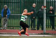 8 April 2018; Tirna Cahill of Youghal A.C. Co Waterford, competing in the U18 Women's Hammer Event during the Irish Life Health National Spring Throws at Templemore in Co. Tipperary. Photo by Sam Barnes/Sportsfile
