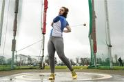 8 April 2018; Emily Myres of Waterford A.C. Co Waterford, competing in the U18 Women's Hammer Event during the Irish Life Health National Spring Throws at Templemore in Co. Tipperary. Photo by Sam Barnes/Sportsfile
