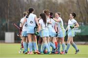 8 April 2018; Emma Russell of UCD is congratulated by teammates after scoring her side's first goal during the Women's Irish Senior Cup Final match between UCD and Pegasus at the National Hockey Stadium in UCD, Dublin. Photo by David Fitzgerald/Sportsfile