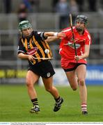 8 April 2018; Michelle Teehan of Kilkenny in action against Orla Cotter of Cork during the Littlewoods Ireland Camogie League Division 1 Final match between Kilkenny and Cork at Nowlan Park in Kilkenny. Photo by Piaras Ó Mídheach/Sportsfile
