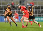 8 April 2018; Pamela Mackey of Cork in action against Kilkenny's, Meighan Farrell, left, and Michelle Quilty during the Littlewoods Ireland Camogie League Division 1 Final match between Kilkenny and Cork at Nowlan Park in Kilkenny. Photo by Piaras Ó Mídheach/Sportsfile