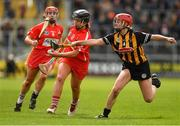 8 April 2018; Linda Collins of Cork, supported by team-mate Libby Coppinger, left, in action against Grace Walsh of Kilkenny during the Littlewoods Ireland Camogie League Division 1 Final match between Kilkenny and Cork at Nowlan Park in Kilkenny. Photo by Piaras Ó Mídheach/Sportsfile