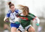 8 April 2018; Sarah Rowe of Mayo in action against Rachel McKenna of Monaghan during the Lidl Ladies Football National League Division 1 Round 5 match between Mayo and Monaghan at Swinford Amenity Park in Kiltimagh Road, Swinford, Co. Mayo. Photo by Eóin Noonan/Sportsfile
