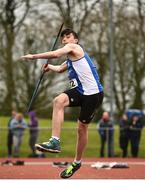 8 April 2018; Cathal Scanlon of Waterford A.C. Co Waterford, competing in the U17 Men's Javelin Event during the Irish Life Health National Spring Throws at Templemore in Co. Tipperary. Photo by Sam Barnes/Sportsfile