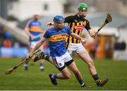 8 April 2018; John McGrath of Tipperary in action against Joey Holden of Kilkenny during the Allianz Hurling League Division 1 Final match between Kilkenny and Tipperary at Nowlan Park in Kilkenny. Photo by Stephen McCarthy/Sportsfile