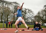 8 April 2018; Conor Cusack of Lake District Athletics, Co Mayo, competing in the U17 Men's Javelin Event during the Irish Life Health National Spring Throws at Templemore in Co. Tipperary. Photo by Sam Barnes/Sportsfile