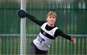 8 April 2018; Ryan O'Keeffe of Donore Harriers Co Dublin, competing in the U18 Men's Discus Event during the Irish Life Health National Spring Throws at Templemore in Co. Tipperary. Photo by Sam Barnes/Sportsfile