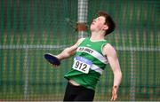 8 April 2018; Brian Lynch of Old Abbey A.C., Co Corkx, competing in the U18 Men's Discus Event during the Irish Life Health National Spring Throws at Templemore in Co. Tipperary. Photo by Sam Barnes/Sportsfile