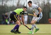 8 April 2018; Ross Canning of Three Rock Rovers in action against Keith O'Hare of Pembroke Wanderers during the Men's Irish Senior Cup Final match between Three Rock Rovers and Pembroke Wanderers at the National Hockey Stadium in UCD, Dublin.  Photo by David Fitzgerald/Sportsfile