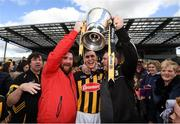 8 April 2018; Kilkenny captain Cillian Buckley celebrates with supporters John Dowson, left, and Ger Rowe following the Allianz Hurling League Division 1 Final match between Kilkenny and Tipperary at Nowlan Park in Kilkenny. Photo by Stephen McCarthy/Sportsfile