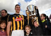 8 April 2018; Kilkenny captain Cillian Buckley celebrates with supporters Charlie Kavanagh, right, and Noah Flynn following the Allianz Hurling League Division 1 Final match between Kilkenny and Tipperary at Nowlan Park in Kilkenny. Photo by Stephen McCarthy/Sportsfile