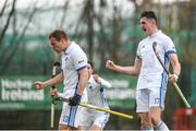 8 April 2018; Harry Morris of Three Rock Rovers, right, and Luke Madeley celebrate after he scored their side's third goal during the Men's Irish Senior Cup Final match between Three Rock Rovers and Pembroke Wanderers at the National Hockey Stadium in UCD, Dublin. Photo by David Fitzgerald/Sportsfile
