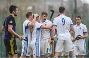 8 April 2018; Three Rock Rovers players congratulate John Mullins after he scored their side's fourth goal during the Men's Irish Senior Cup Final match between Three Rock Rovers and Pembroke Wanderers at the National Hockey Stadium in UCD, Dublin. Photo by David Fitzgerald/Sportsfile