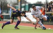 8 April 2018; Richard Pautz of Three Rock Rovers in action against Richard Sweetnam of Pembroke Wanderers during the Men's Irish Senior Cup Final match between Three Rock Rovers and Pembroke Wanderers at the National Hockey Stadium in UCD, Dublin. Photo by David Fitzgerald/Sportsfile
