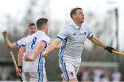 8 April 2018; Ross Canning of Three Rock Rovers celebrates after he scored his side's fifth goal during the Men's Irish Senior Cup Final match between Three Rock Rovers and Pembroke Wanderers at the National Hockey Stadium in UCD, Dublin. Photo by David Fitzgerald/Sportsfile