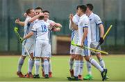 8 April 2018; Three Rock Rovers players celebrate following the Men's Irish Senior Cup Final match between Three Rock Rovers and Pembroke Wanderers at the National Hockey Stadium in UCD, Dublin. Photo by David Fitzgerald/Sportsfile