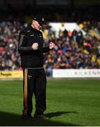 8 April 2018; Kilkenny manager Brian Cody celebrates his side's victory at the final whistle of the Allianz Hurling League Division 1 Final match between Kilkenny and Tipperary at Nowlan Park in Kilkenny. Photo by Stephen McCarthy/Sportsfile