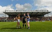 8 April 2018; Referee Alan Kelly performs the coin toss with team captains Cillian Buckley of Kilkenny and Padraic Maher of Tipperary before the Allianz Hurling League Division 1 Final match between Kilkenny and Tipperary at Nowlan Park in Kilkenny. Photo by Piaras Ó Mídheach/Sportsfile