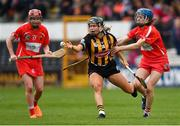 8 April 2018; Katie Power of Kilkenny in action against Orla Cotter, left, and Aileen Sheehan of Cork during the Littlewoods Ireland Camogie League Division 1 Final match between Kilkenny and Cork at Nowlan Park in Kilkenny. Photo by Piaras Ó Mídheach/Sportsfile