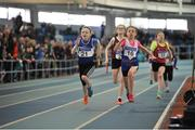 7 April 2018; Riona Doherty, left, Finn Valley AC, Co. Donegal, passes Amelia Holland, right, Ratoath AC, Co. Meath, on her way to winning the Under 12 Girls 4x100m relay team event, during the Irish Life Health National Juvenile Indoor Championships day 1 at Athlone IT in Athlone, Co. Westmeath. Photo by Tomás Greally/Sportsfile