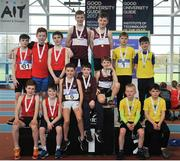 7 April 2018; Under 14 Boys 4x200m relay team medallists, from left, Tír Chonaill AC, Co. Donegal, bronze, Mullingar Harriers AC, Co. Westmeath, gold, and Loughrea AC, Co. Galway, silver, during the Irish Life Health National Juvenile Indoor Championships Day 1 at Athlone IT in Athlone, Westmeath. Photo by Tomás Greally/Sportsfile