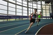 7 April 2018; Michael McCullagh, Shercock AC, Co.Cavan, in action during the Under 16 Boys 4x200m relay team event, during the Irish Life Health National Juvenile Indoor Championships Day 1 at Athlone IT in Athlone, Co. Westmeath. Photo by Tomás Greally/Sportsfile