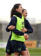 9 April 2018; Niamh Fahey, left, and Katie McCabe during Republic of Ireland training at Tallaght Stadium in Tallaght, Dublin. Photo by Stephen McCarthy/Sportsfile