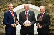 9 April 2018: Club legend Coman Goggins of Ballinteer St Johns, left, Uachtarán Chumann Lúthchleas Gael John Horan, centre, and John Murphy, Chairperson, GAA Infrastructure committee, at the launch of the inaugural AIB GAA Club Player Awards. The awards ceremony will be the first of its kind in the club championship to recognise the top performing club players and to celebrate their hard work, commitment and individual achievements at a national level. The awards ceremony will take place in Croke Park, on Saturday 21st April. For exclusive content and to see why AIB are backing Club and County follow us @AIB_GAA on Twitter, Instagram, Snapchat, Facebook and AIB.ie/GAA. Photo by Ramsey Cardy/Sportsfile