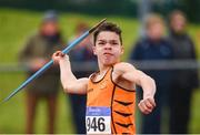 8 April 2018; Alex Reynolds of Nenagh Olympic A.C., Co Tipperary, competing in the U16 Men's Javelin Event during the Irish Life Health National Spring Throws at Templemore in Co. Tipperary. Photo by Sam Barnes/Sportsfile