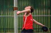 8 April 2018; James O'Neill of Gowran A.C., Co. Kilkenny competing in the Junior Men's Discus Event during the Irish Life Health National Spring Throws at Templemore in Co. Tipperary. Photo by Sam Barnes/Sportsfile
