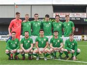 9 April 2018; The Ireland team, back row from left, Matthew Connor, Shane Daly-Butz, Sean O'Mahony, Darragh Noone, Alan O'Sullivan and Ross Taheny, front row from left, Shane Elworthy, Jonny Bonner, Daire O'Connor, Jason McClelland and Conor Kane, prior to the Colleges & Universities Football League International Friendly match between Ireland and Scotland at Oriel Park, in Dundalk, Co. Louth. Photo by Seb Daly/Sportsfile