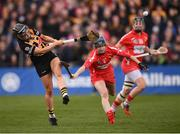 8 April 2018; Katie Power of Kilkenny in action against Pamela Mackey of Cork during the Littlewoods Ireland Camogie League Division 1 Final match between Kilkenny and Cork at Nowlan Park in Kilkenny. Photo by Stephen McCarthy/Sportsfile