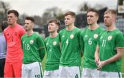 9 April 2018; Ireland players, from left, Matthew Connor, Shane Elworthy, Conor Kane, Ross Taheny, Sean O'Mahony and Shane Daly-Butz, during the Colleges & Universities Football League International Friendly match between Ireland and Scotland at Oriel Park, in Dundalk, Co. Louth. Photo by Seb Daly/Sportsfile