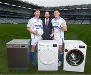 10 April 2018; Ian Collins, Managing Director, Beko Ireland, with Dublin footballer Ciaran Kilkenny and Wexford hurler Lee Chin in attendance in Croke Park, Dublin, at the launch of the 2018 Beko Club Bua award scheme, Leinster GAA's accreditation and health check system for clubs in the province. For more information visit leinstergaa.ie/club-bua/. Photo by Stephen McCarthy/Sportsfile