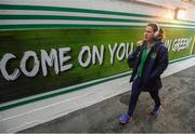 10 April 2018; Niamh Fahey of Republic of Ireland arrives prior to the 2019 FIFA Women's World Cup Qualifier match between Republic of Ireland and Netherlands at Tallaght Stadium in Tallaght, Dublin. Photo by Stephen McCarthy/Sportsfile
