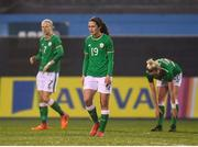 10 April 2018; Amy Boyle Carr, centre, Diane Caldwell, left, and Megan Connolly, right, of Republic of Ireland after conceeding their first goal during the 2019 FIFA Women's World Cup Qualifier match between Republic of Ireland and Netherlands at Tallaght Stadium in Tallaght, Dublin. Photo by Stephen McCarthy/Sportsfile