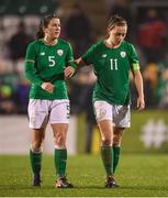10 April 2018; Niamh Fahey, left, and Katie McCabe of Republic of Ireland following the 2019 FIFA Women's World Cup Qualifier match between Republic of Ireland and Netherlands at Tallaght Stadium in Tallaght, Dublin. Photo by Stephen McCarthy/Sportsfile